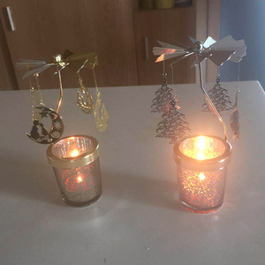 2018 Home Decoration Metal Moon and Tree Sliver Gold Go-Round Glass Candles