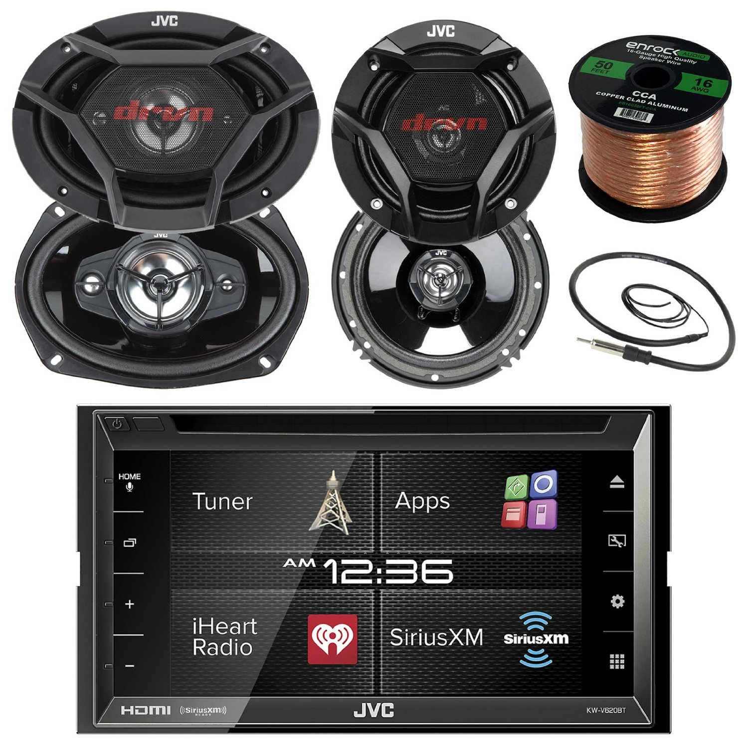 """JVC KWV620BT 6.8"""" Touch Screen Car CD/DVD Bluetooth Receiver Bundle Combo With 2x Dual 6.5"""" 2-Way And 2x 6x9"""" Inch 4-Way Audio Coaxial Speakers + Enrock 22"""" AM/FM Antenna + 50 Ft 16g Speaker Wire"""