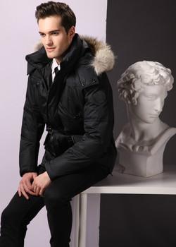 Mens black jacket with fur hood