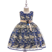 2019 hot sell 4 colors fashion children kids Vestido de nina pageant princess birthday girl gold party dress