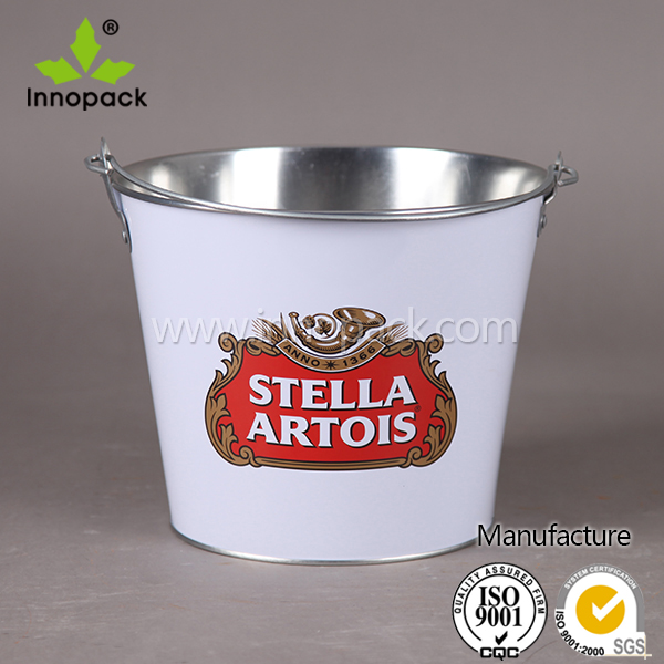 tin bucket round metal pail for beer