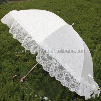 6e726e3cc454 Rosso bianco rosa merletto dritto bordo decorazione matrimonio all aperto  ombrello