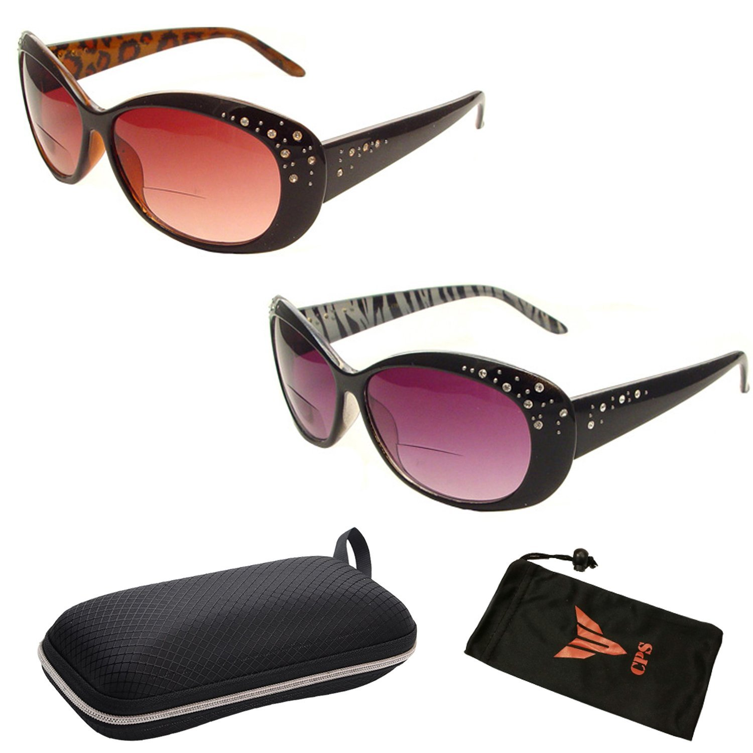 Premium Designer Fashion Shape BIFOCAL Sun Readers for Women Men + Free Accessories Storage