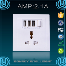 High Quality PC 15A/250V European 3 Pin Plug Univeral USB Wall Socket