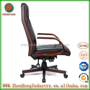 Bw High Back Office Chair Pu Leather/wood Office Chair/ Wooden Armrest Chair  In