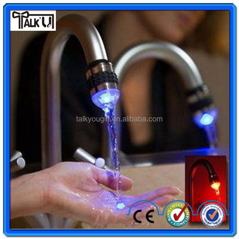 Tempreture Controled Self-electric Sensor Led Water Tap/led faucet light brass garden tap