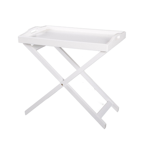 Square Decorative Breakfast Cocktail Serving Wooden White Folding TV Snack Dinner Bar Tea Coffee Table Tray With Legs Stand