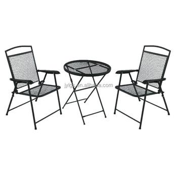 3 Pièces En Fer Forgé Ensemble De Bistrot En Plein Air Table Et Chaises  Pliantes - Buy Table Et Chaises De Jardin En Fer Forgé,Table Pliante  Portable ...