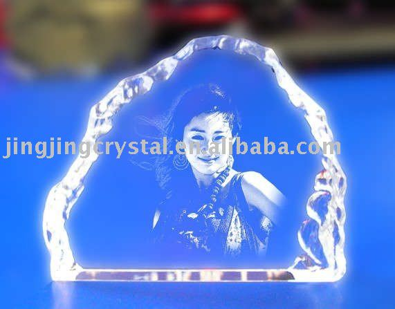 new arrival crystal 3D laser frame photo mountain-shaped crystal 3D laser photo frame