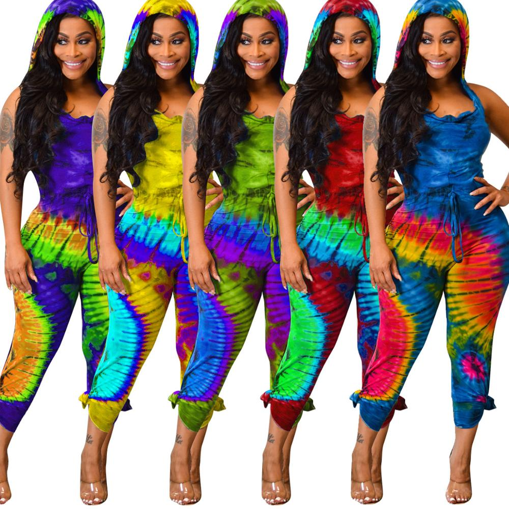 2019 Women's Clothing Jumpsuits Bodycon Strapless Ruffle Jumpsuit Summer Tie Dye Mujer Romper фото