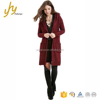 c25bcb715ef Guangzhou Yuhanya Computer Knitted Longline Pockets Hood Stylish Girls Sweater  Cardigan