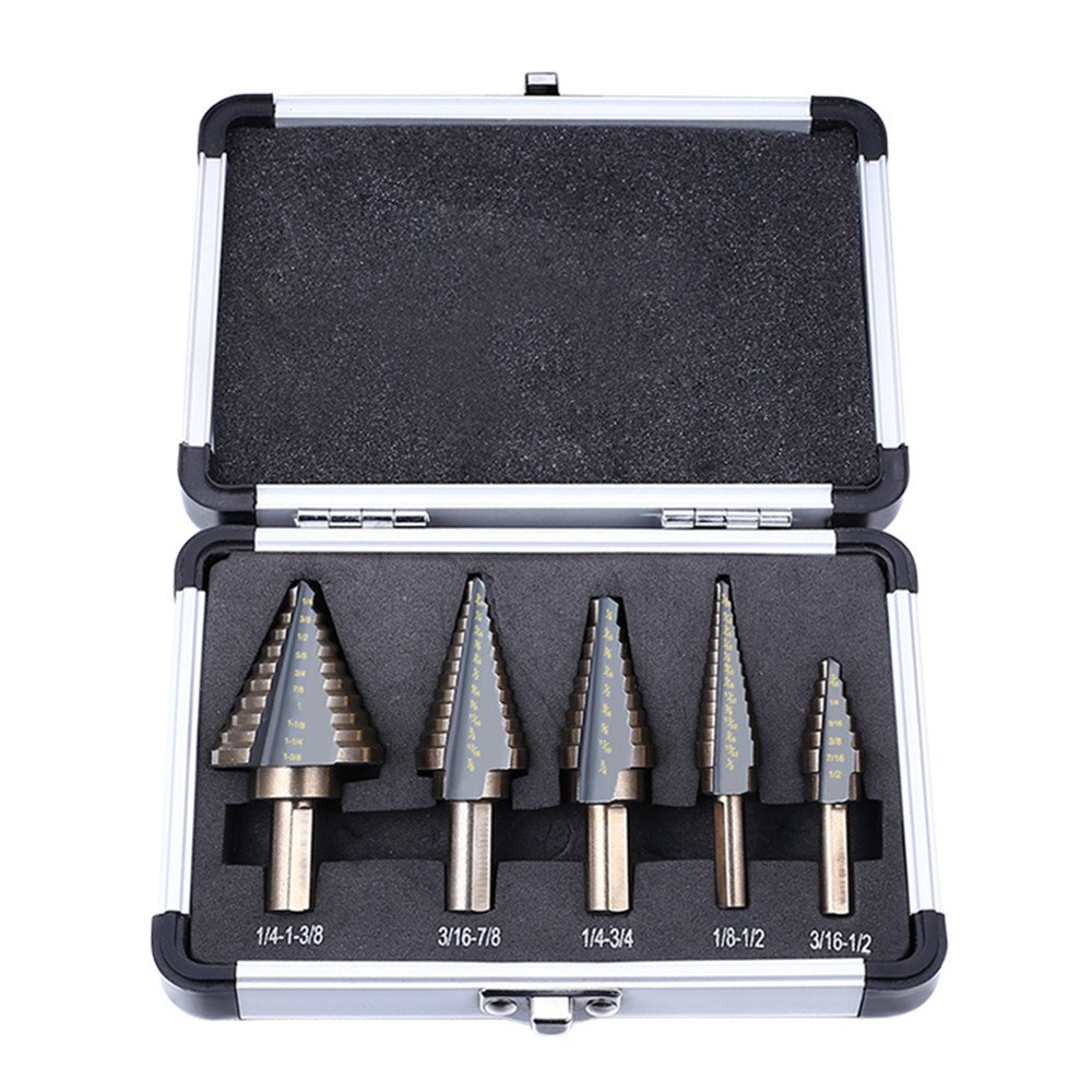 Xilko 5PC Step Drill Bit Set Hss Cobalt Multiple Hole 50 Sizes Step Drills 1/4-1-3/8 3/16-7/8 1/4-3/4 1/8-1/2 3/16-1/2 with Aluminum Case