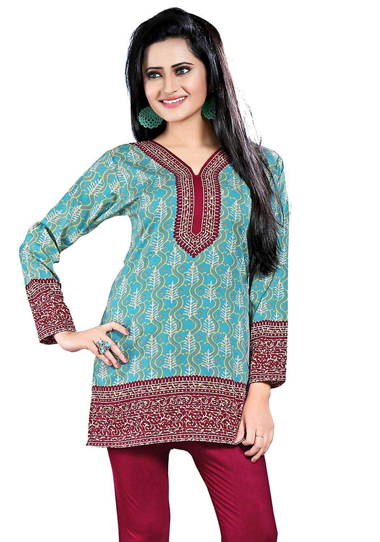 44eacaa9f36 Buy Maple Clothing Printed Long Sleeve Indian Kurti Top Tunic Womens ...