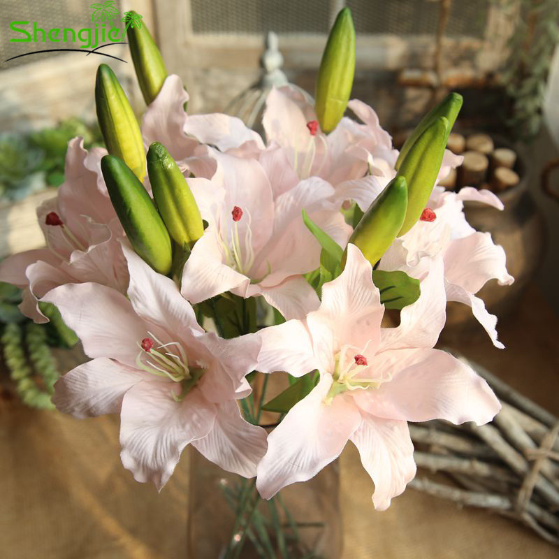 Wholesale price single stem 2.03ft fabric artificial easter lily flowers