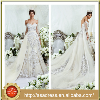 DS 07 High Quality Beaded Crystals Wedding Bridal Gown With Detachable Train Sexy Off Shoulder