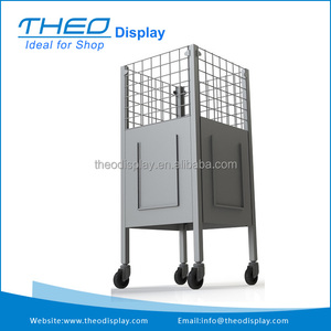 Fashional wire supermarket metal display dump bin with wheels