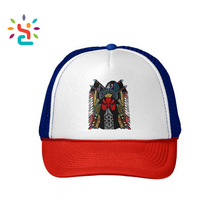 Personalized private label 5 panel curve brim baseball caps Beijing opera pattern mesh foam sport cap Chinese style trucker hat
