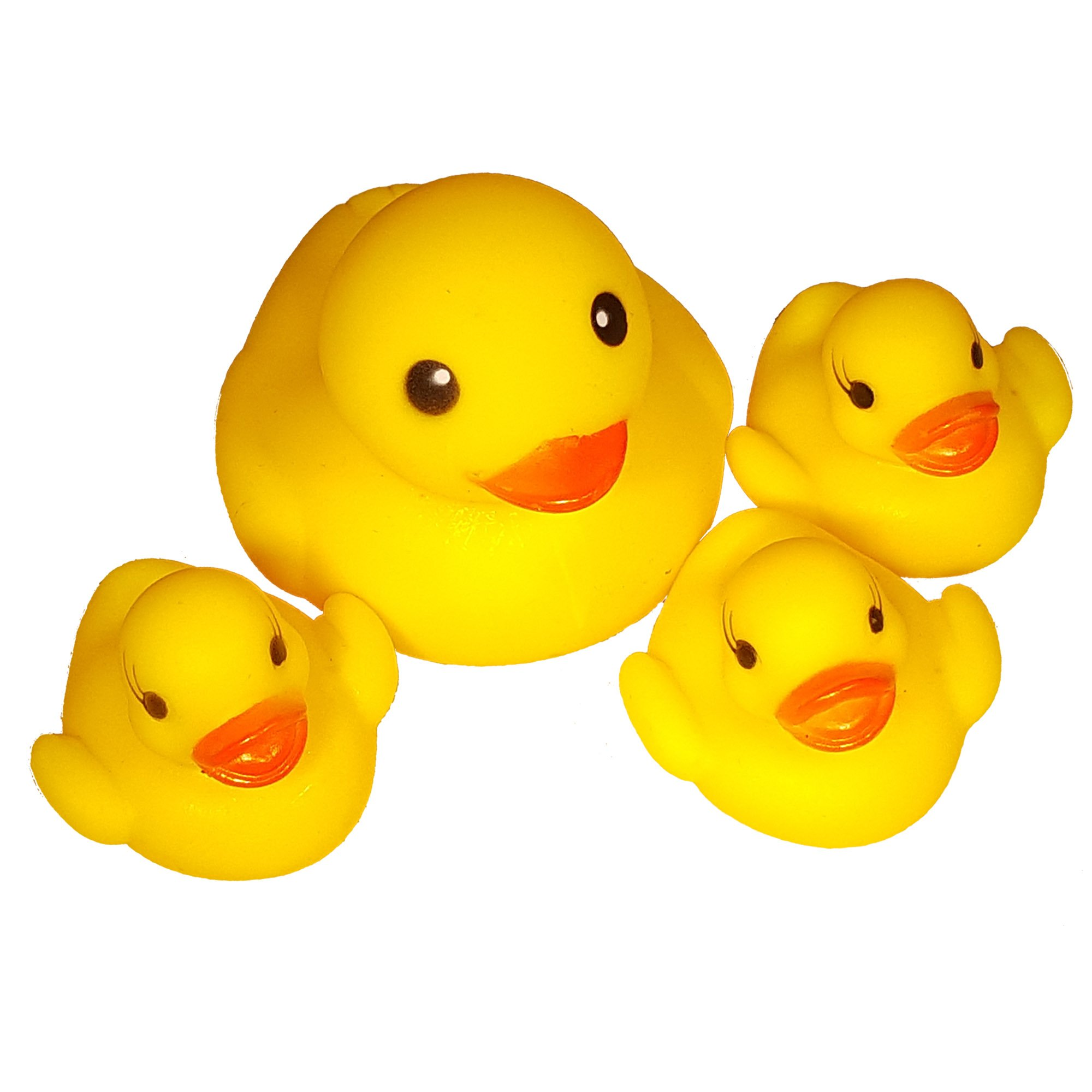 4pc Rubber Ducks - Large Rubber Duck with 3 Mini Rubber Duck Toys - Family of Ducks - Rubber Ducky Assortment