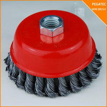 "4"" THREADED CUP WIRE WHEEL BRUSH CRIMPED 5/8'' stainless steel wire mesh"