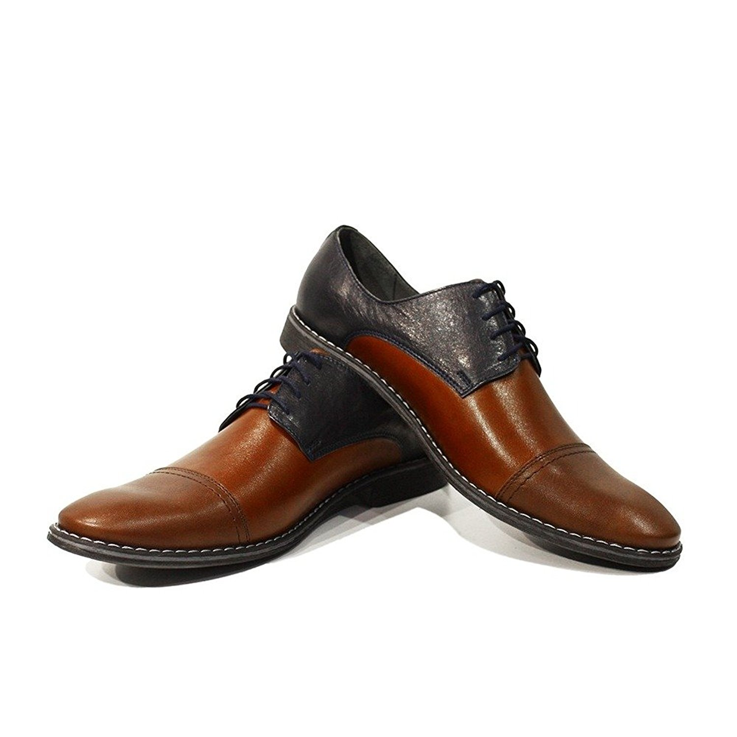 Modello Mario - Handmade Italian Mens Brown Oxfords Dress Shoes - Cowhide Smooth Leather - Lace-up