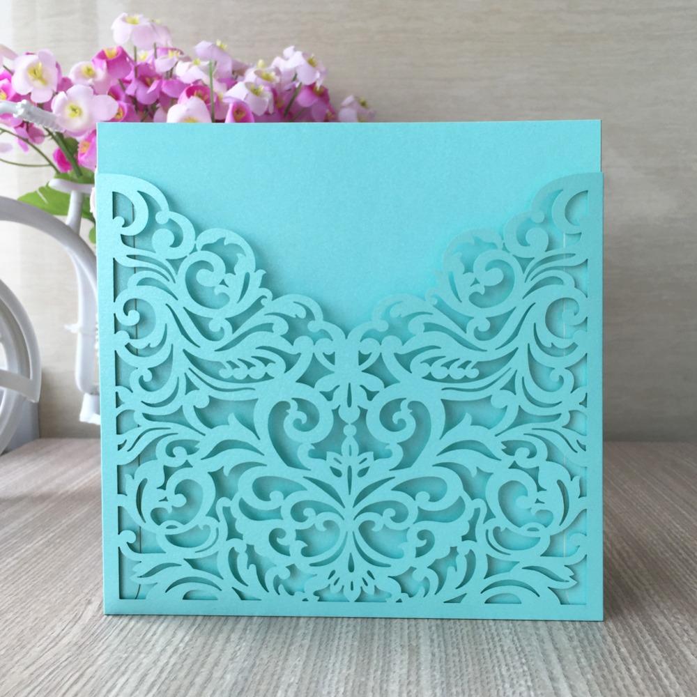 Unique Tiffany Blue Wedding Invitations Laser Cut Pocket Wedding ...