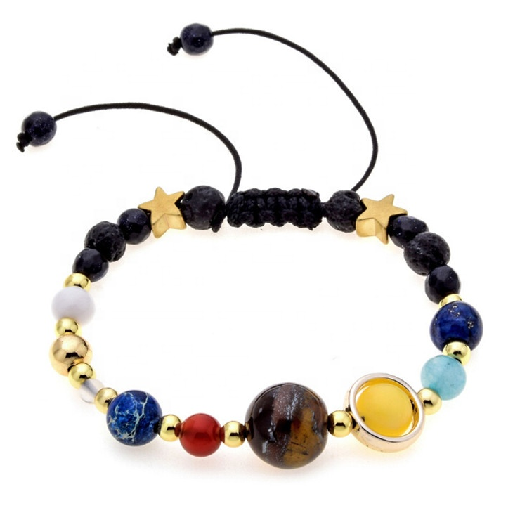 Womens Fashion Adjustable Sky Planets Colorful Natural Stones Beaded Chakra Bracelet