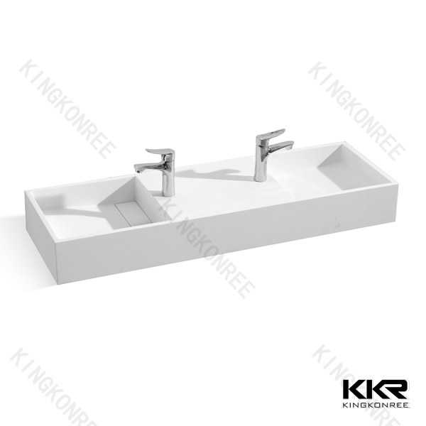 KKR factory China White solid surface basin Countertop Washing Basin With Faucet Hole