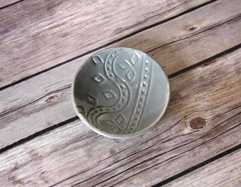 Gray Ring Dish - Handmade Jewelry Bowl - Bohemian/Boho dish with stamped geometric pattern and light grey glaze