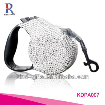 New Bling Rhinestone Retractable Bicycle Dog Leash Pet Leash With Crystal
