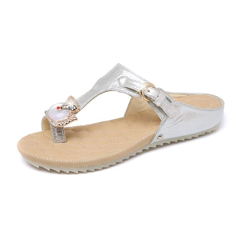 9e21666d11c8 Get Quotations · GIY Women s Fashion Sparkly Flat Flip Flops Sandals  Comfort Platform Toe Ring Studded Summer Beach Thong