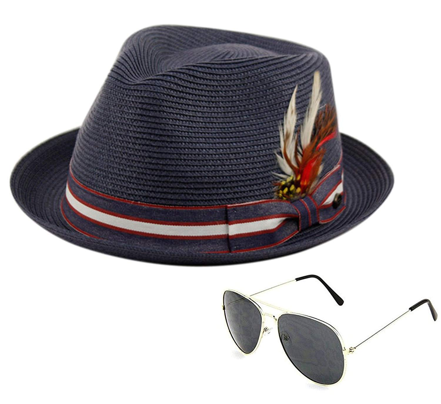 10ce515feeb71 Get Quotations · Epoch Men s Premium Poly Braid Fedora Hat with American Colors  and Aviator Sunglasses