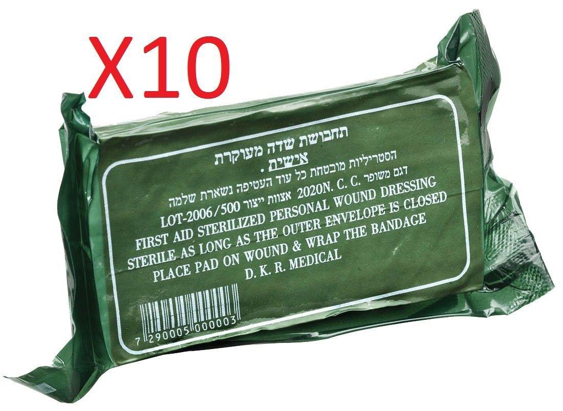 IDF Israeli Army Dressing / Bandage Israeli Battle Dressing, First Aid Compression Bandage - X10 Units (10)