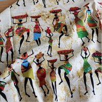 Patchwork Linen Material Sewing Crafts Tissu African Women Print Linen Cotton Fabric