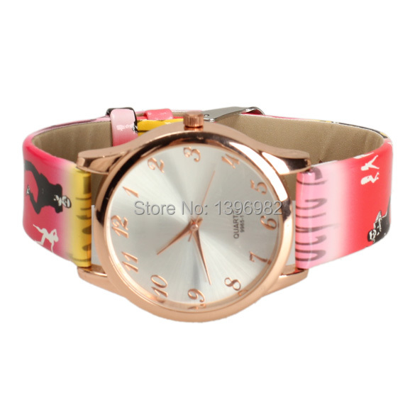 Woman Watches 2014 New Fashion Watch  Pattern Rose Red Synthetic Leather Strap Watch Casual Watch