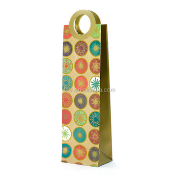 LPWB106 China factory directly supply fashion wine bottle art paper gift bag with die cut handle