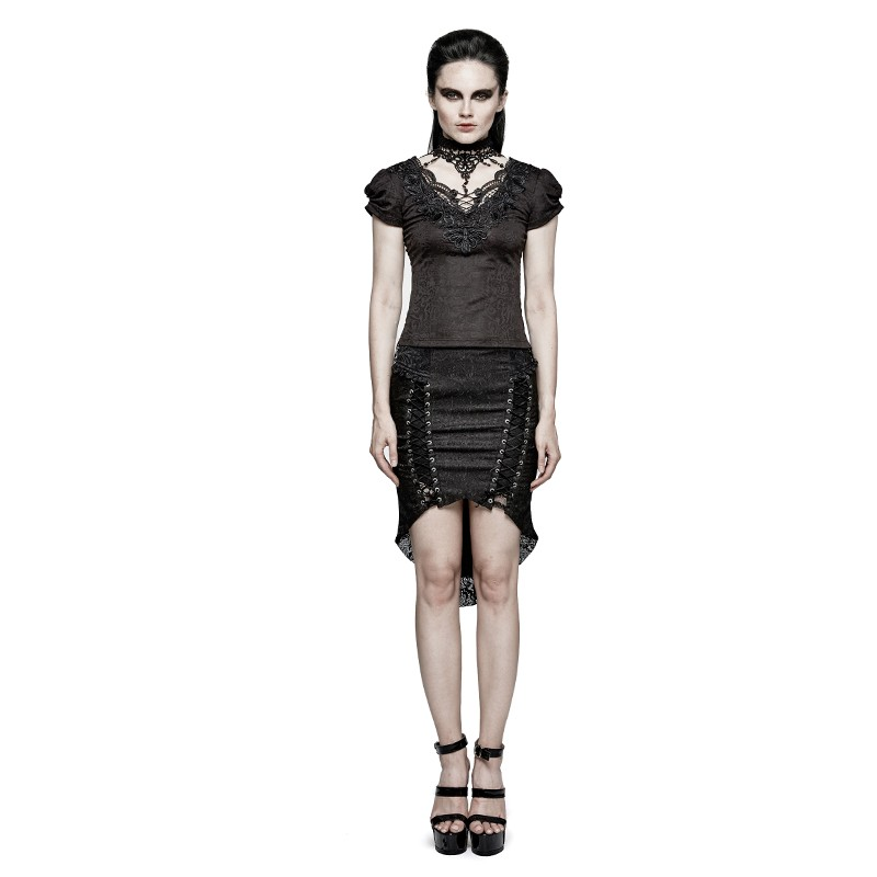 T-454 Gothic Swallow Tail Jacquard Short Sleeve Lace T-shirt