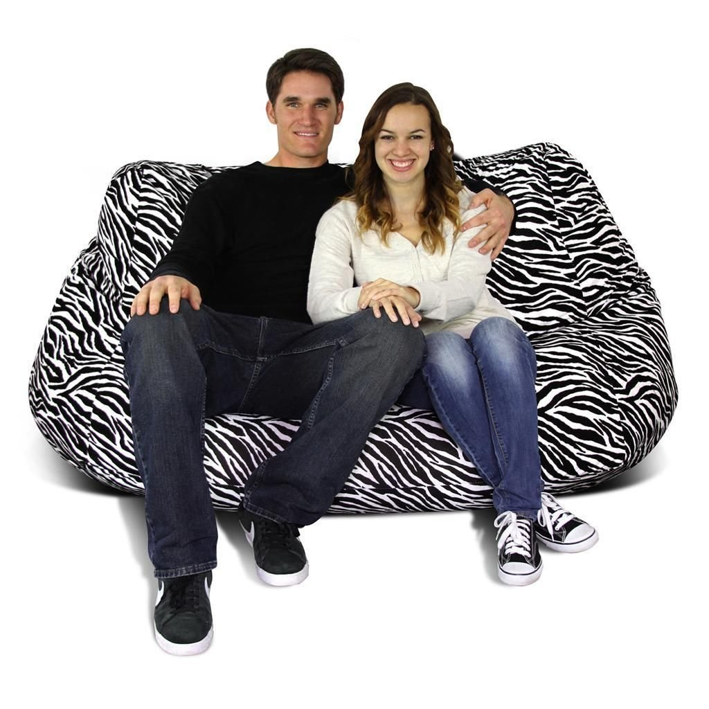Get Quotations · Bean Bag Factory 2 Seat Velvet Zebra Bean Bag Chair Cover