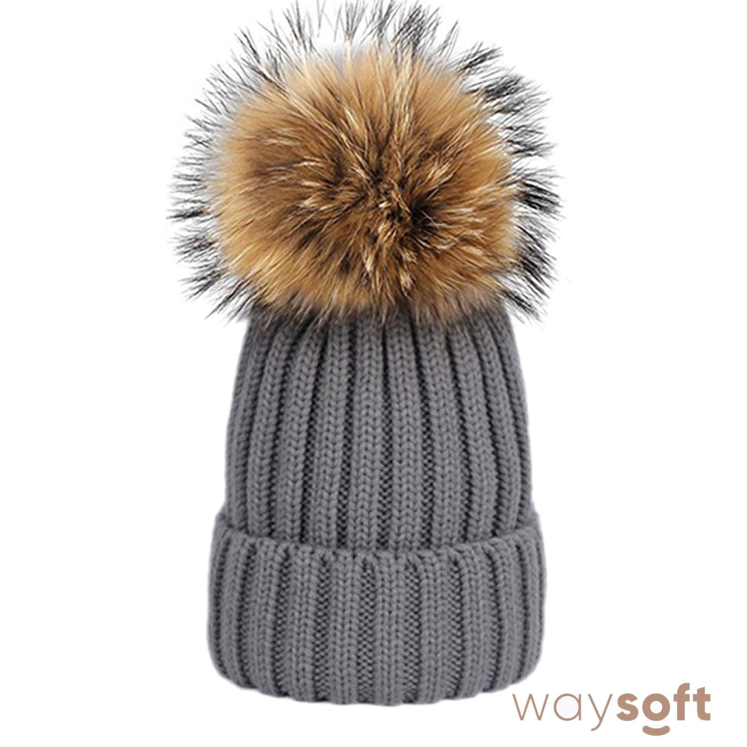 cf0b37ec0a0e56 Get Quotations · WaySoft Mother-Child Matching Genuine Fur Pom Pom Hats – Knit  Beanie Hat Matching Ski