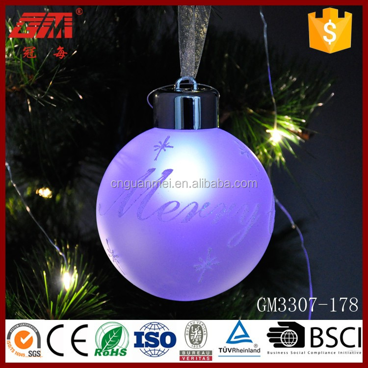 Glitter colorful LED christmas glass hanging ball ornaments