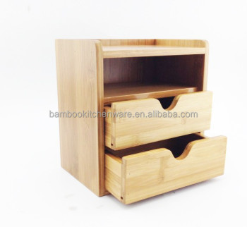 Bamboo Wood Stationery Storage Drawer