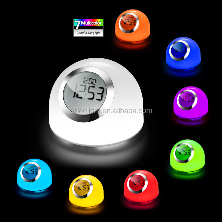 Ball shape sensor touch color changing led table lamp with alarm clock