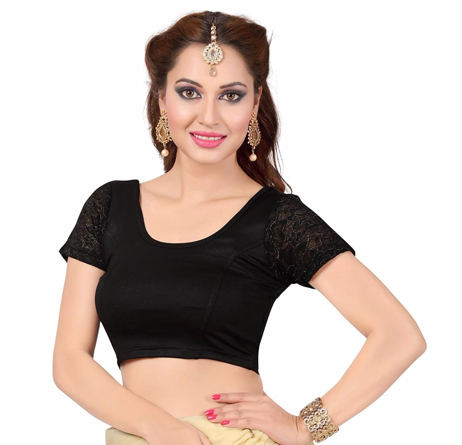 TrendyFashionMall Women's Trendy Lycra Saree Blouse Crop Top With Lace Sleeve Collection!