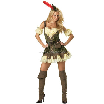 Fashion women robin hood costumes medieval warrior fancy dress adult costume for advertising BWG13054