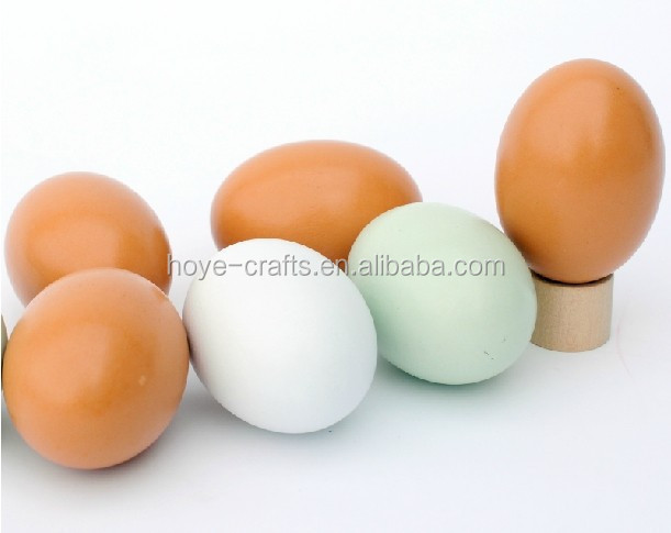 Kitchen Game Toy Unpainted Wooden Eggs Natural Wood Egg for DIY Painting Easter Crafts