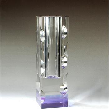 Custom High Quality K9 Clear Crystal Glass Rectangular Flower Vase