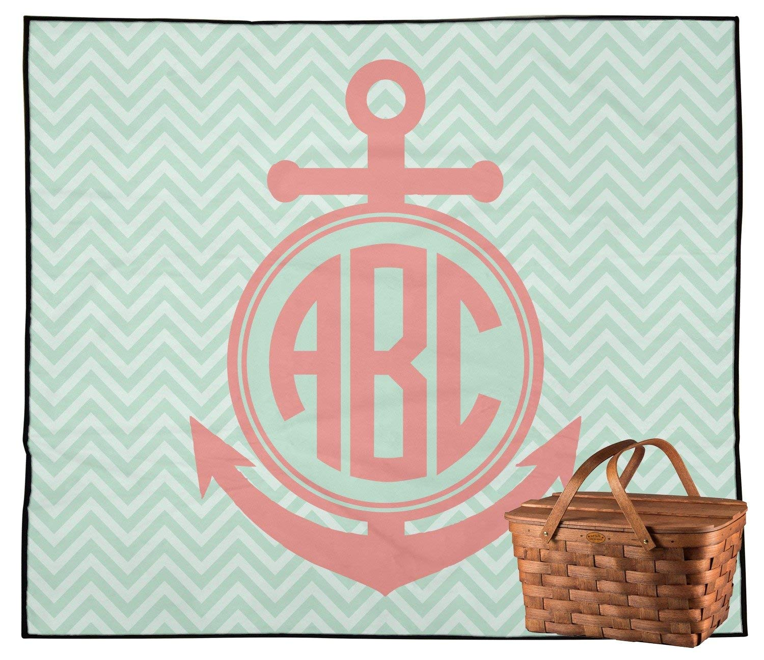 ed8f3f810f6a Get Quotations · RNK Shops Chevron & Anchor Outdoor Picnic Blanket  (Personalized)