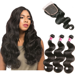 Brazilian Human Hair Bundles With Closure Body Wave 3 Bundles With Lace Closure Middle Part Remy SAY ME Human Hair Weave 4PC Lot