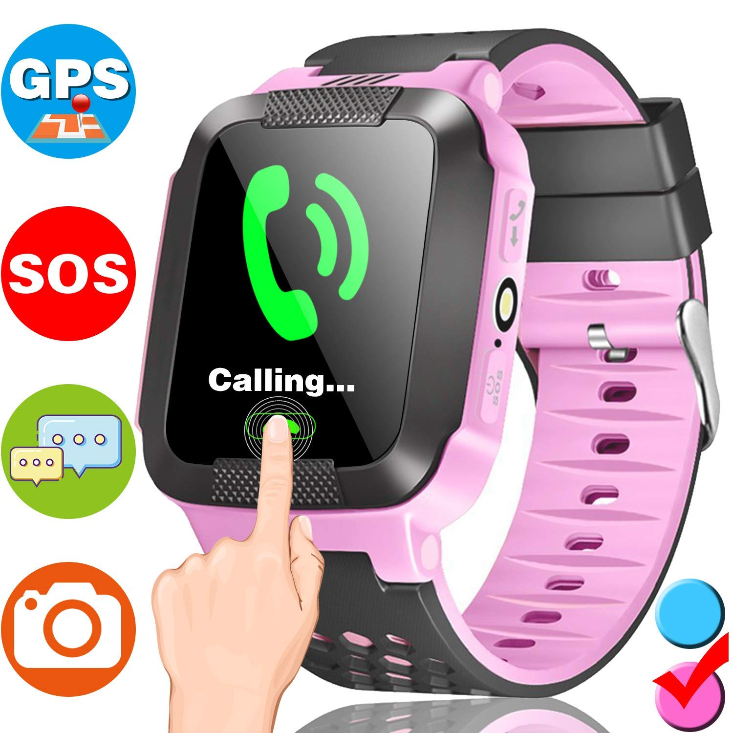 """Kids Smart Watch with GPS, Phone Smartwatch Calls Anti-Lost SOS Locator Camera 1.44""""Touch Screen Fitness Tracker Sport Outdoor Pedometer Wrist Watch Bracelet Boys Girls Learning Birthday Gifts"""