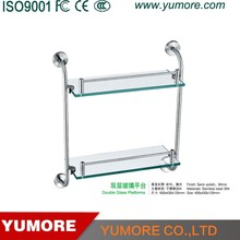 decorative wall stainless steel kitchen corner 2 tier glass bath shelf
