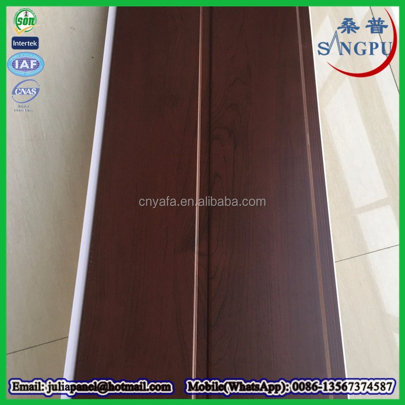 wood color pvc lamination panel pvc tongue and groove ceiling panel